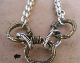 Sterling Silver and Bronze Chain Link Necklace with Sterling Silver Clasp