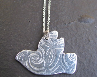 Medium Dove (sign of Peace) Charm Necklace Made of Fine Silver and Sterling Silver