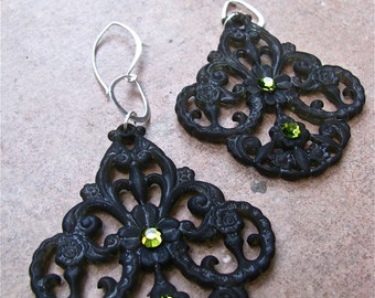 Extremely Lightweight Dark Green Lucite Filigree Earrings Accented with 4 Green Swarovski Crystal and Sterling Silver Earwire