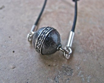 SALE!!! Round Oxidized Sterling Silver Ball Charm with Diamond Chips On A Knotted Greek Black Leather Chain