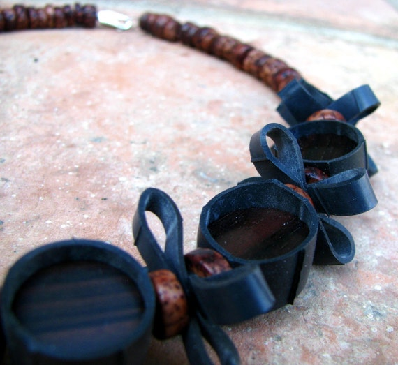 Othello and Black Licorice Repurposed Rubber Necklace with Brown Accent Beads
