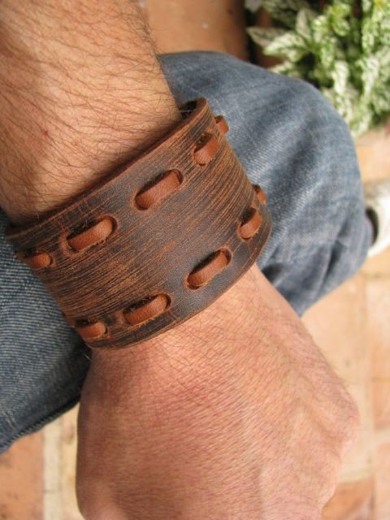 Chocolate Brown Leather Wristband Cuff with Contrasting Stitching