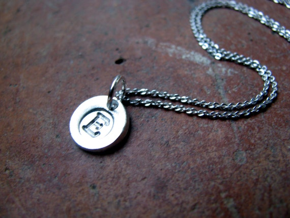 Initials in Fine Silver Made To Order and strung on an adjustable Sterling Silver chain