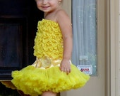 Sunny Yellow Ruffled Petti Tube Top-Sizes 0-6 Y-MADE TO ORDER