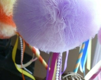 Lavender Pink Toy Tulle Puff  Magic Wand-Flower Girl Accessory