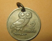 Authentic Vintage  Greece Owl  Phoenix Coin Pendant Necklace