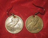 Authentic Vintage  Greece Owl  Phoenix Coin  Earrings