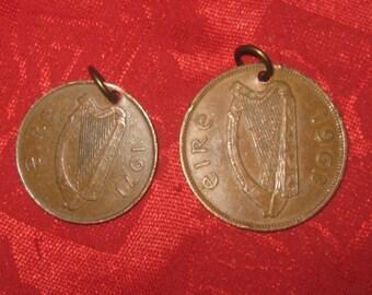 Wholesale Lot of Two Rustic Vintage  Irish  Celtic Harp Bird Coin  Pendants
