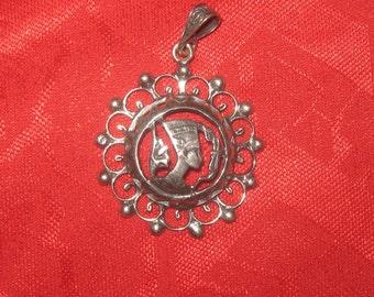 925 Sterling Silver Egyptian Queen Nefertiti Pendant