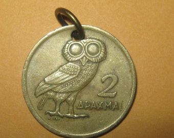Authentic Vintage  Greece Athena Owl  Phoenix Coin Pendant Necklace