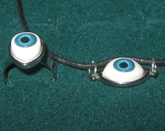 Blue Eyeball  Pendant Adjustable  Ring  Set