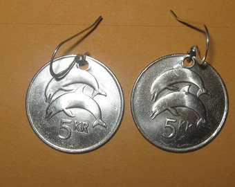 Authentic Iceland Double Dolphin Coin Earrings