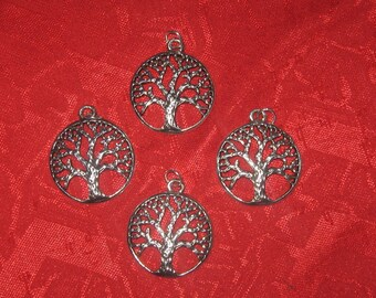 Wholesale Lot Of 10 DOMED - 25mm Steel Celtic Tree Of  Life Pendants