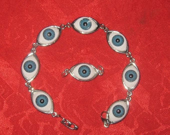 Blue EYE Eyeball Bracelet Pendant Set
