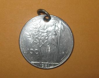 Authentic Vintage Italian Athena Goddess Coin Pendant