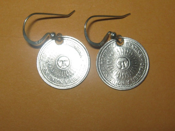 Authentic Sol Argentina Sun Face Coin Earrings