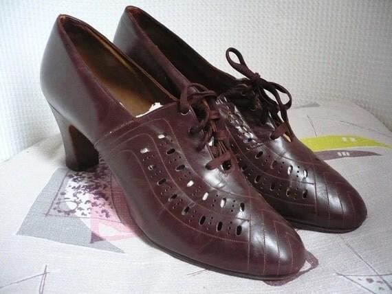1950's Lace Up Leather Shoes Size UK 7 EURO 41 USA 9.5