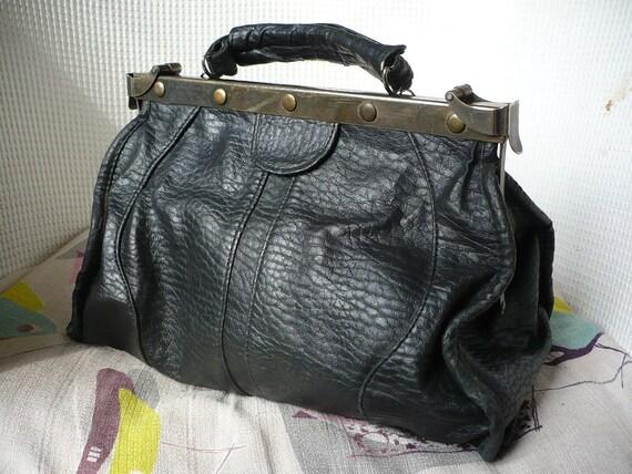 Vintage Black Gladstone Doctors Bag
