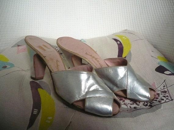 1950's Silver Leather Peeptoe Sandals Size UK 4 EURO 37 USA 6.5
