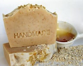 Olive Oil Soap-Cold process Soap - Honey & Oatmeal all Natural gentle Scrub,