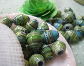 Paper Beads - Green Blue- Lot of 12 by YanniCreations