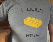 I Build Stuff Block style Tee - grey with yellow brick