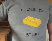"Lego Block ""I Build Stuff"" Custom Tee - Free shipping USA - AngelLeighDesigns"