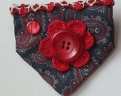 Vintage Necktie Brooch ships free USA - Red white blue paisley - crochet flower - vintage button beauty mark