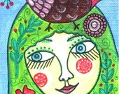 An ACEO Original Folk Art Painting of a Woman with Flowers and a Bird Portrait