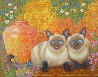 SALE!!!! Original Painting Fine Art Siamese Cats Cat Portrait Vase Garden Still Life