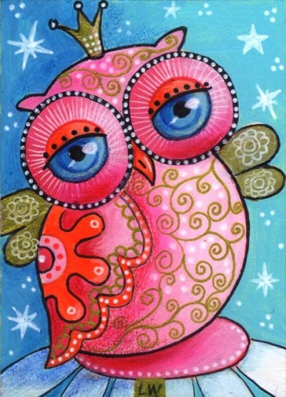 ACEO Original Painting Folk Primitive Owl Bird LW