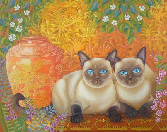 SALE!!!! Original Painting Fine Art Siamese Cats Cat Portrait Vase Garden Still Life