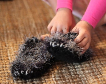 Grey Wolf Slippers 4  1/2  Inch Child's Size