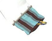 Binder Pencil Case Aqua & Brown Striped Pencil Pouch for 3 Ring Binder Teal Blue Brown Stripe Organizer Back to School School Supplies