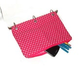 Binder Pencil Case Hot Pink Organizer Case for 3 Ring Binder with Zipper Pencil Case Back to School Ready to Ship School Supplies Kids Gift