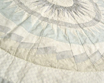 Quilt  - Cottage Shabby Chic -  Geometric Silver and White Medallion - OOAK - Ready to Ship