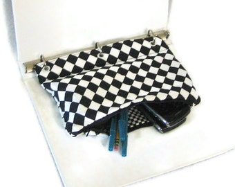 Binder Pencil Case Black and White  for 3 Ring Binder with Zipper  Back to School Ready to Ship School Supplies Kids Gift Pencil Pouch