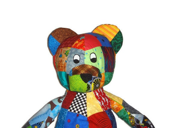 Patchwork Bear Stuffed Animal - Perfect for Boy or Girl - Ready to Ship