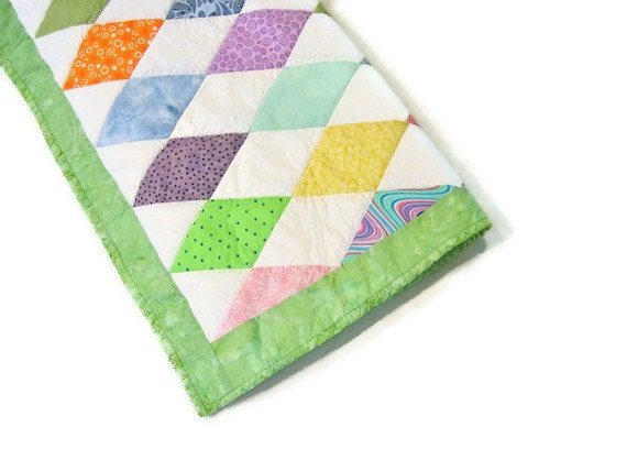 Quilt  - Cottage Shabby Chic -  Pastel Harlequin Diamond Pattern -  Ready to Ship