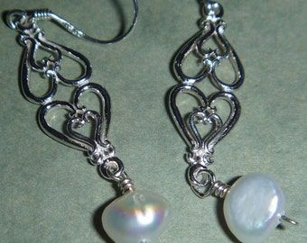 Sterling Silver filigree earrings with pearls