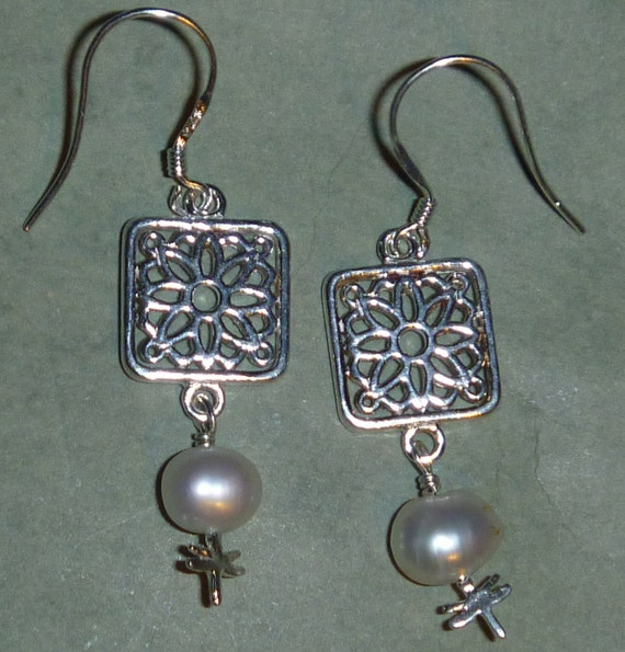 Sterling Silver flower square earrings with tiny dragonflies and pearls