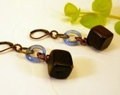 Earrings- Wooden Cube and Blue African Glass