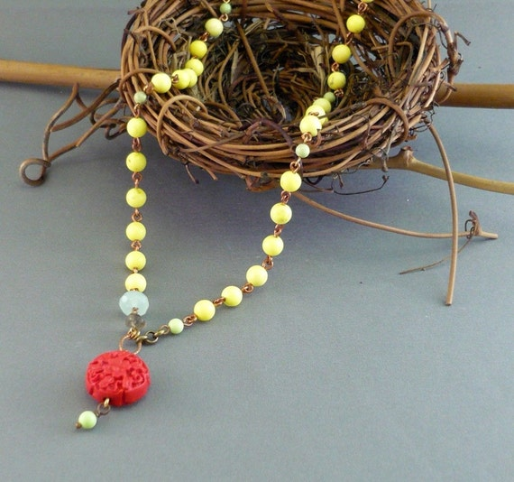 Necklace- Wire Wrapped Yellow Turquoise, Cinnabar