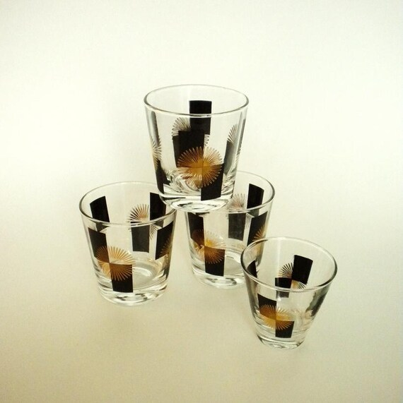 4 Swanky Mid Century Cocktail Glasses