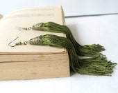 Olive Green Tassel Earrings - 4.5 inches long