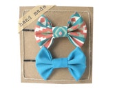 Orange Geometric and Blue - Hair bows - Set of Two Bobby Pins