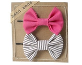 Pink and Stripes - Hair Bows - Set of Two Bow Bobby Pins