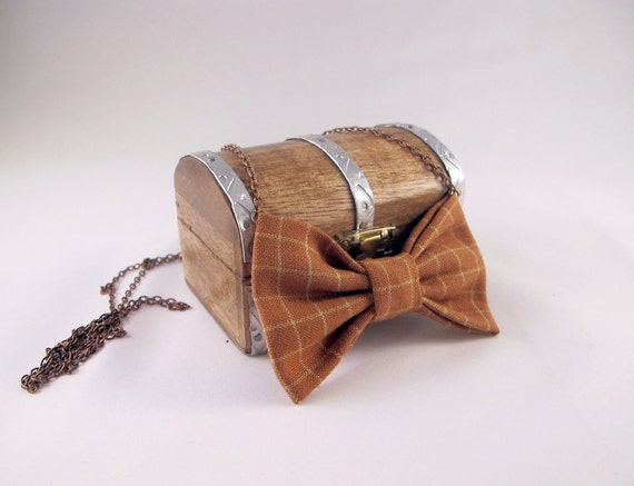 Bow Tie Necklace - Pumpkin Homespun Plaid