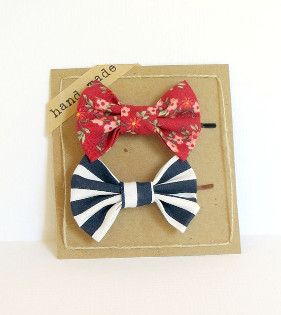 Hair bows - Set of Two Bobby Pins (Vintage Inspired Floral Red & Navy Blue Stripes)