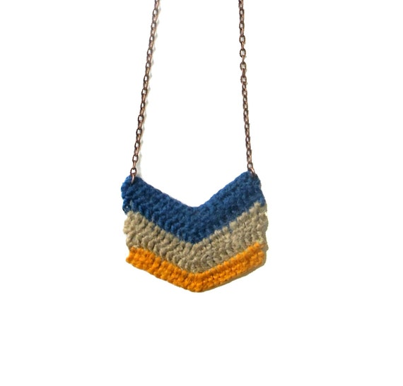 Blue, Beige, Yellow Stripes - Chevron Crocheted Necklace